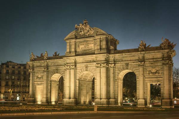 Photograph - Puerta De Alcala Night by Joan Carroll