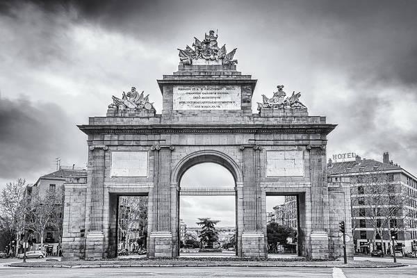 Wall Art - Photograph - Puerta De Toledo Madrid Bw by Joan Carroll