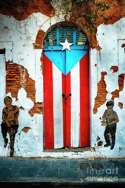 Calle Wall Art - Photograph - Puerto Rican Flag Door by George Oze