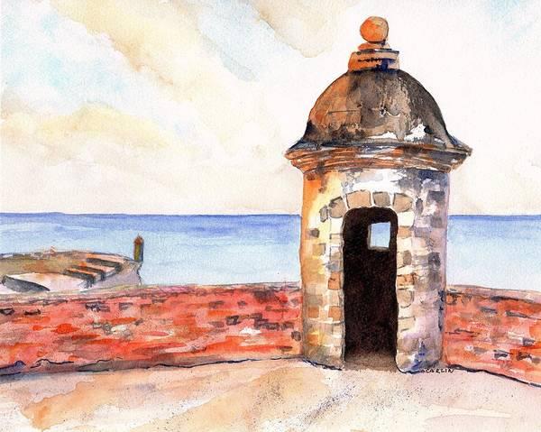 Castillo Wall Art - Painting - Puerto Rico Sentry Box Ocean View by Carlin Blahnik CarlinArtWatercolor
