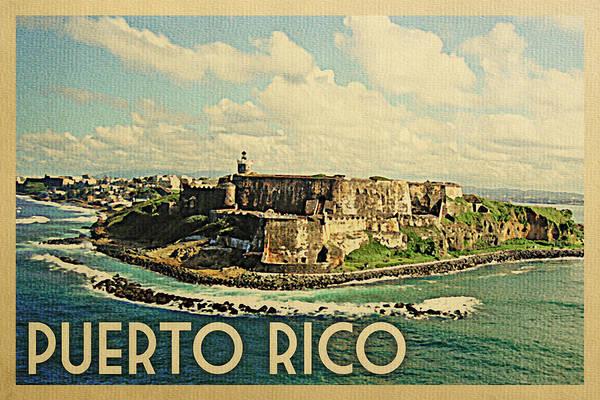 Castillo Wall Art - Digital Art - Puerto Rico Travel Poster - Vintage Travel by Flo Karp