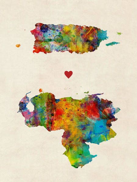 South America Digital Art - Puerto Rico Venezuela Love by Michael Tompsett