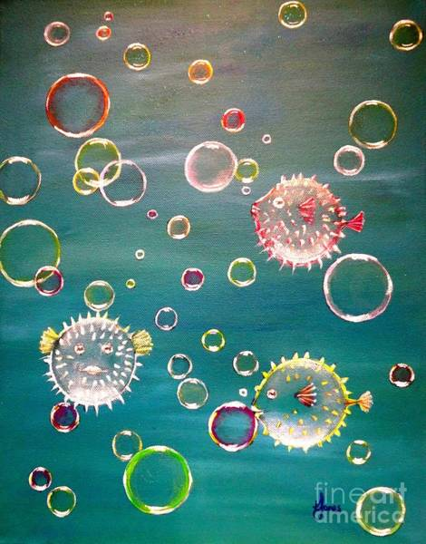 Painting - Puffer Fish Bubbles by Karen Jane Jones