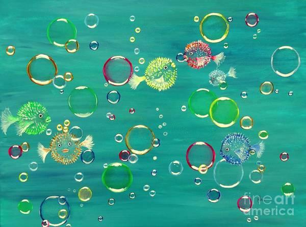 Painting - Pufferfish Rainbow by Karen Jane Jones