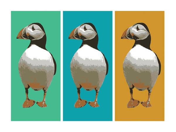 Animal Digital Art - Puffin Trio Pop Art by Michael Tompsett