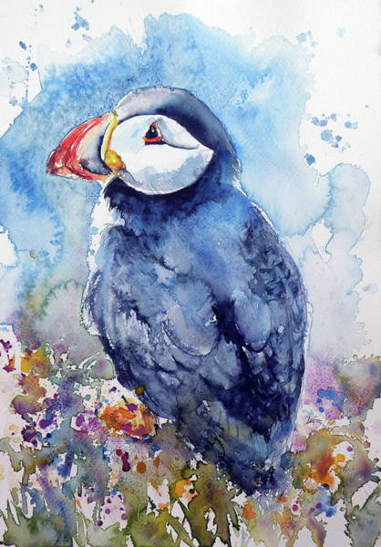 Puffins Wall Art - Painting - Puffin With Flowers by Kovacs Anna Brigitta