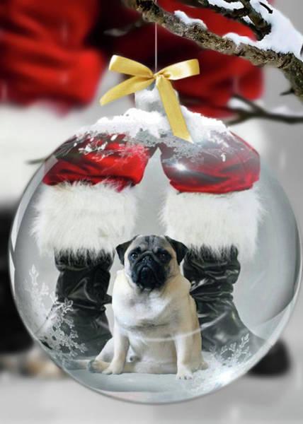 Pug And Santa Art Print