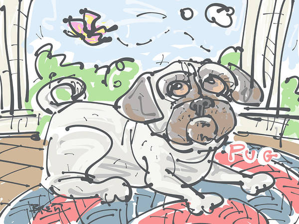Front Porch Drawing - Pug by Brett LaGue