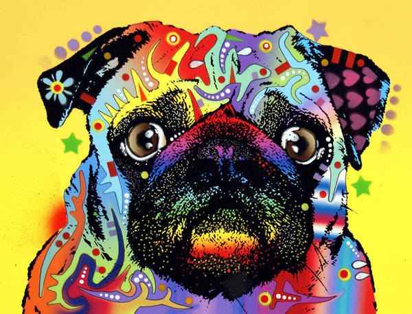 Mixed Painting - Pug by Dean Russo Art