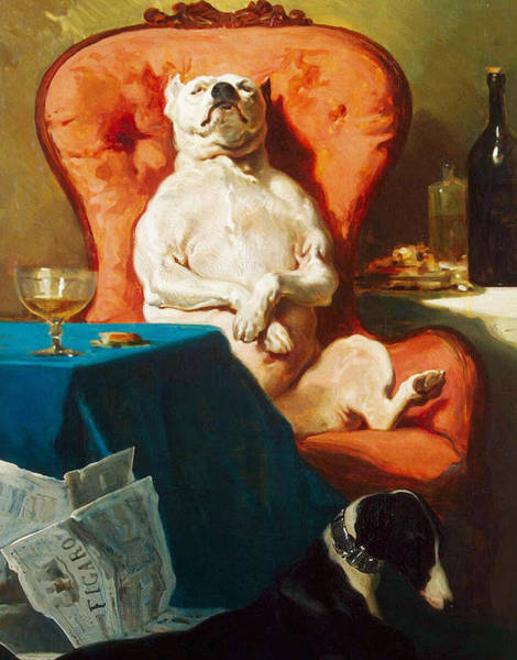 Husky Mixed Media - Pug Dog In Armchair - Mans Best Friend by Alfred Dedreux 1856