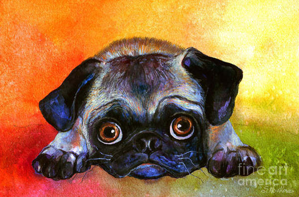 Pet Portrait Drawing - Pug Dog Portrait Painting by Svetlana Novikova