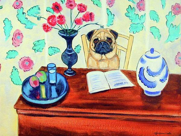 Wall Art - Painting - Pug Scholar by Lyn Cook