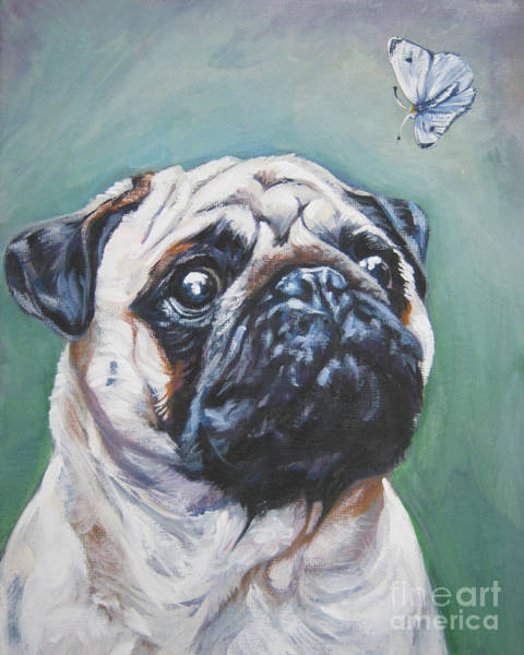 Fawn Painting - Pug With Butterfly by Lee Ann Shepard