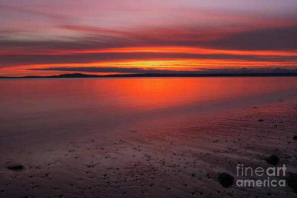 Seattle Skyline Photograph - Puget Sound Burning Skies Sunset Reflection Serenity by Mike Reid