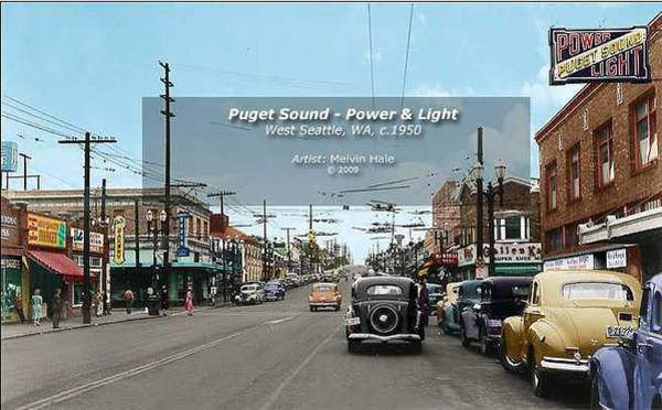 Wall Art - Painting - Puget Sound Power And Light Seattle Circa 1950 by Melvin Hale