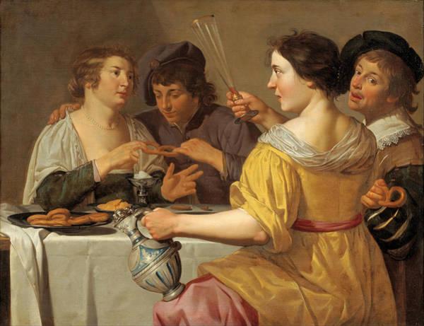 Pulling Painting - Pulling Of The Pretzel by Jan van Bijlert