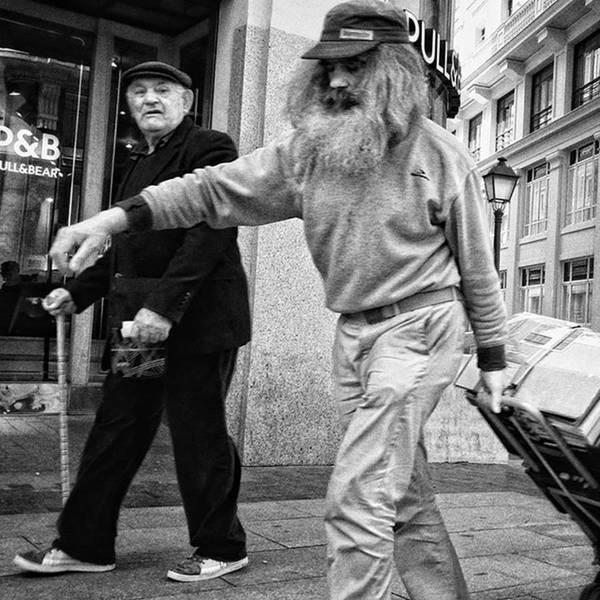 Portrait Photograph - Pulling Santa  #santaclaus #man by Rafa Rivas