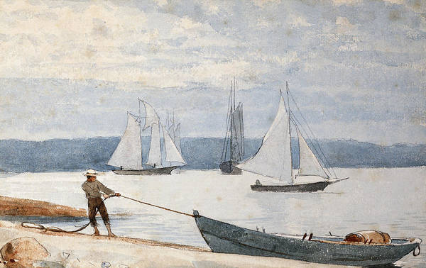 Boats Wall Art - Painting - Pulling The Dory by Winslow Homer
