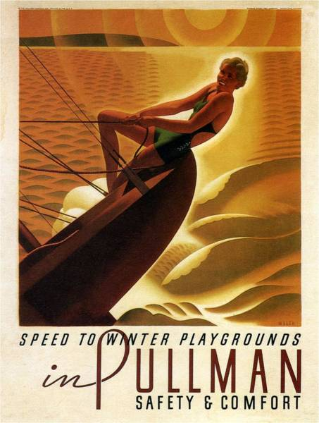 Sailboat Mixed Media - Pullman Speed To Winter Playgrounds - Retro Travel Poster - Vintage Poster by Studio Grafiikka
