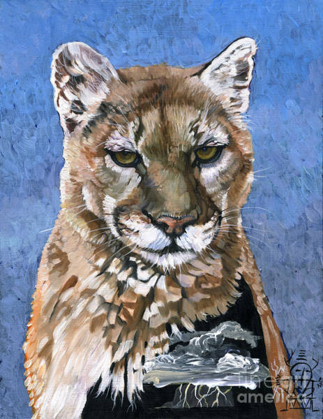 Painting - Puma - The Hunter by J W Baker