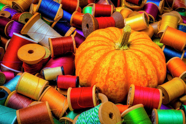 Wall Art - Photograph - Pumpkin And Spools Of Thread by Garry Gay