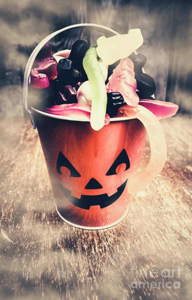 Bucket Photograph - Pumpkin Head In A Misty Halloween Scene by Jorgo Photography - Wall Art Gallery