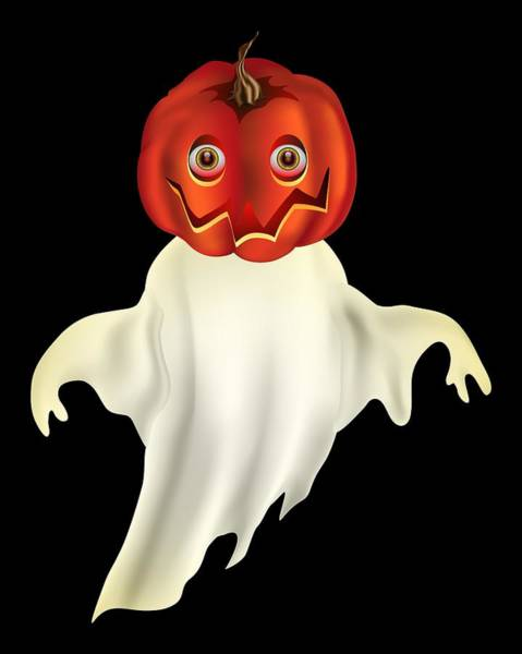 Digital Art - Pumpkin Headed Ghost Graphic by MM Anderson