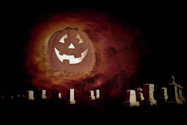 Ghoul Digital Art - Pumpkin Moon Over Floating Gravestones by Linda Brody