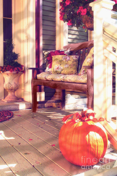 Porch Painting - Pumpkin Porch by Mindy Sommers