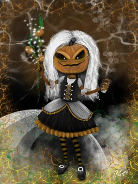 Pumpkin Spice Latte Monster Fantasy Art Art Print