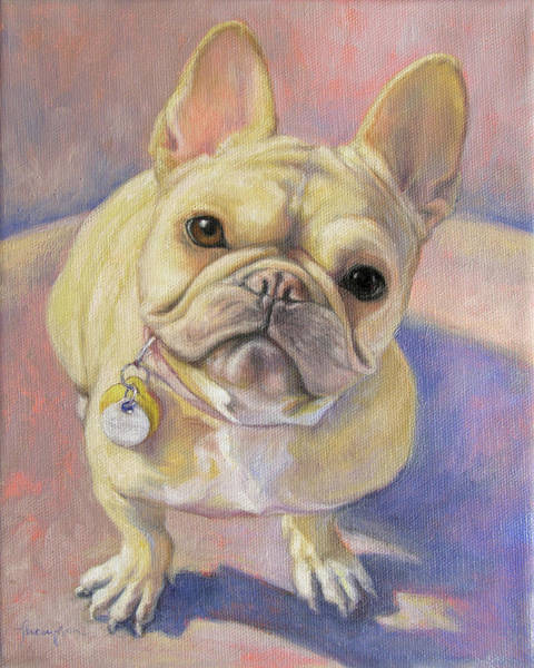 French Bulldog Painting - Pumpkin The French Bulldog by Tracie Thompson