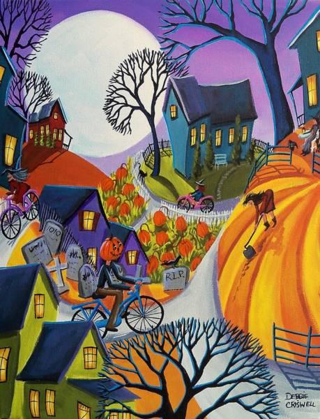 Pumpkinhead Wall Art - Painting - Pumpkinhead Get A New Bike by Debbie Criswell