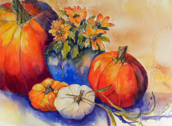 Painting - Pumpkins And Blue Vase by Hilda Vandergriff