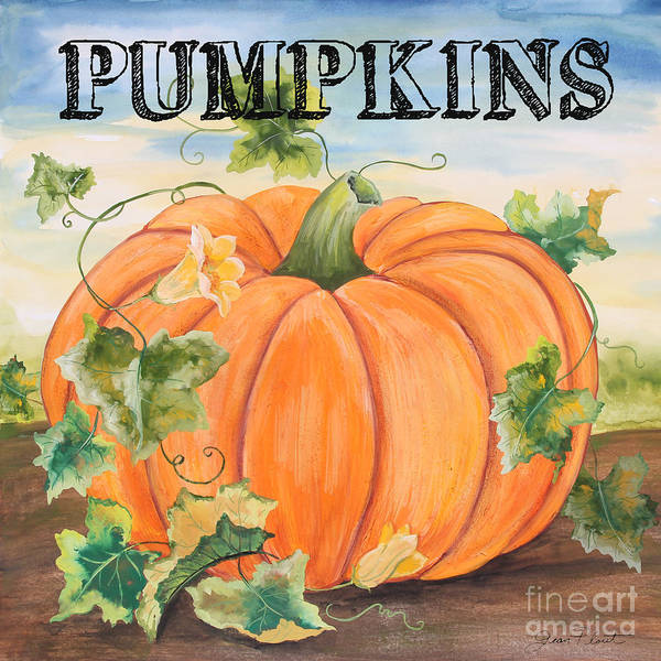 Vegetable Patch Wall Art - Painting - Pumpkins-jp3497 by Jean Plout