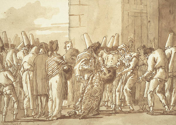 Drawing - Punchinello's Father Brings Home His Bride by Giambattista Tiepolo