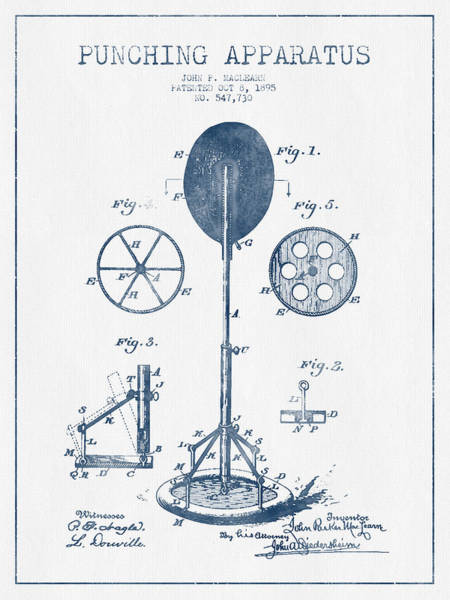 Mma Digital Art - Punching Apparatus Patent Drawing From 1895 -  Blue Ink by Aged Pixel