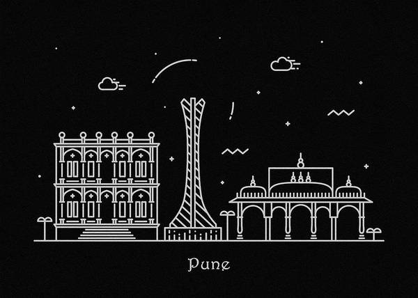 India Drawing - Pune Skyline Travel Poster by Inspirowl Design