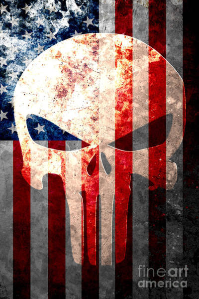 Old Glory Wall Art - Digital Art - Punisher Themed Skull And American Flag On Distressed Metal Sheet by M L C