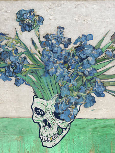Painting - Punk Van Gogh Irises Skull by Tony Rubino