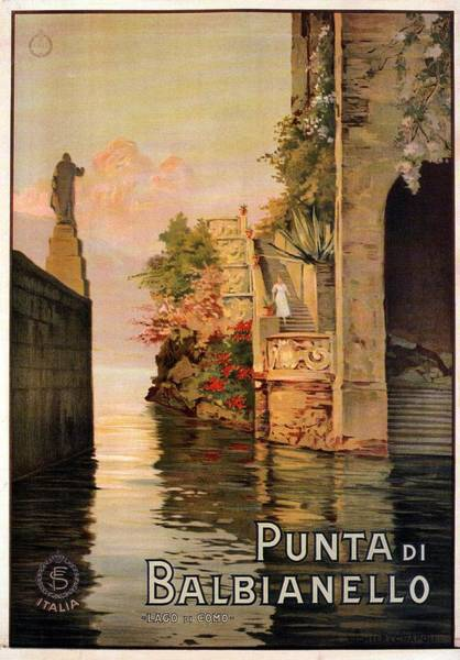 Statue Mixed Media - Punta Di Balbianello - Lago Di Como, Italy - Retro Travel Poster - Vintage Poster by Studio Grafiikka