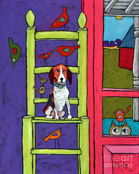 Cats And Dogs Painting - Pup In A Chair by David Hinds
