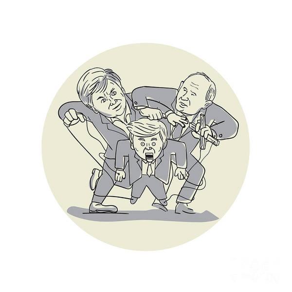 Dummy Digital Art - Puppeteers Fighting Over Puppet Oval Cartoon by Aloysius Patrimonio