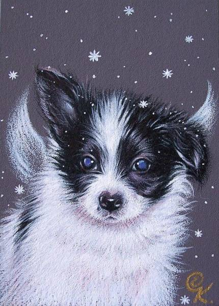 Mixed Media - Puppy Angel by Elena Kolotusha