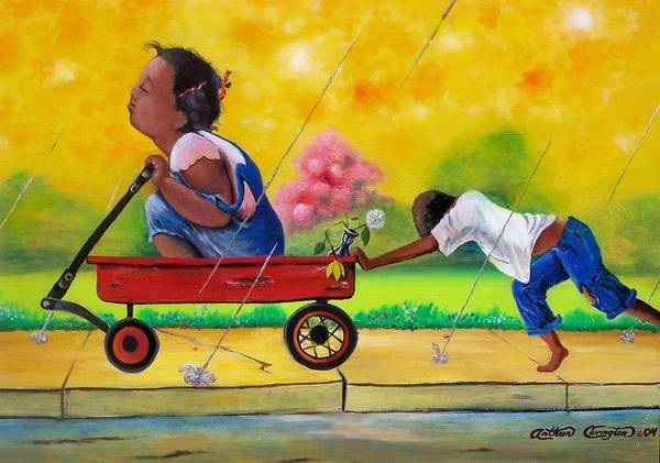 Red Wagon Painting - Puppy Love by Arthur Covington