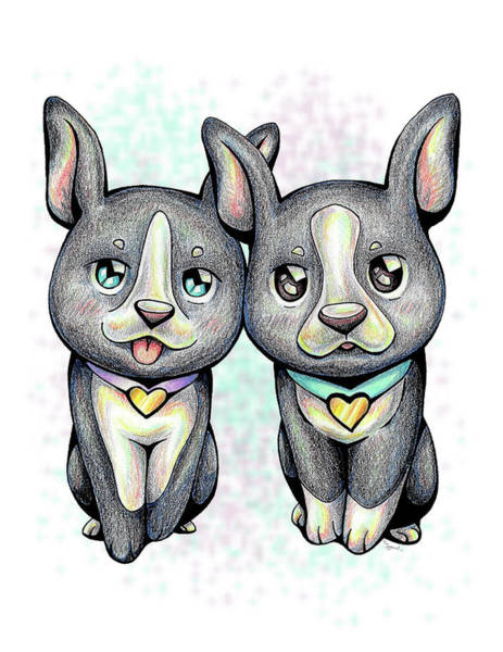 Furry Drawing - Puppy Love Boston Terrier by Sipporah Art and Illustration