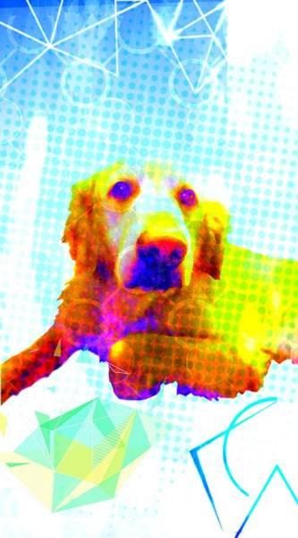 Golden Retriever Mixed Media - Puppy Portrait by Michelle Dallocchio