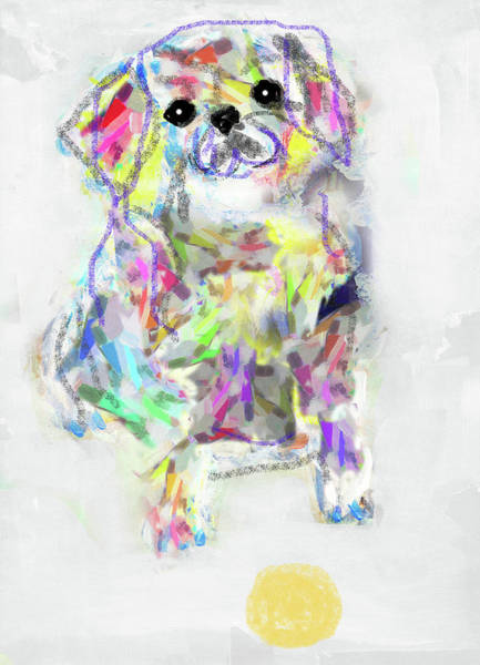 Puppy With Ball Art Print