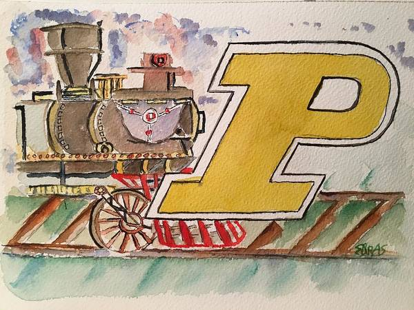 Wall Art - Painting - Purdue Boilermakers by Elaine Duras