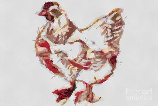 Digital Art - One Purdy Chicken Fragmented by Catherine Lott