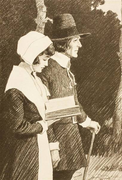 Wall Art - Drawing - Puritan Couple On Way To Church In 16th by Vintage Design Pics